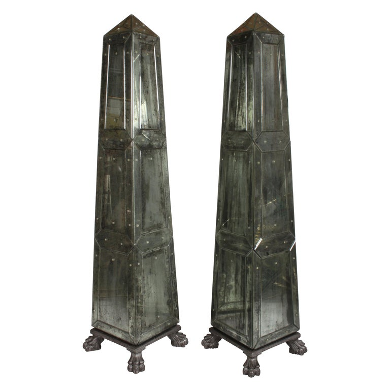 Large Pair of Neoclassical Venetian Style Antique Mirrored Obelisks on Paw Feet For Sale