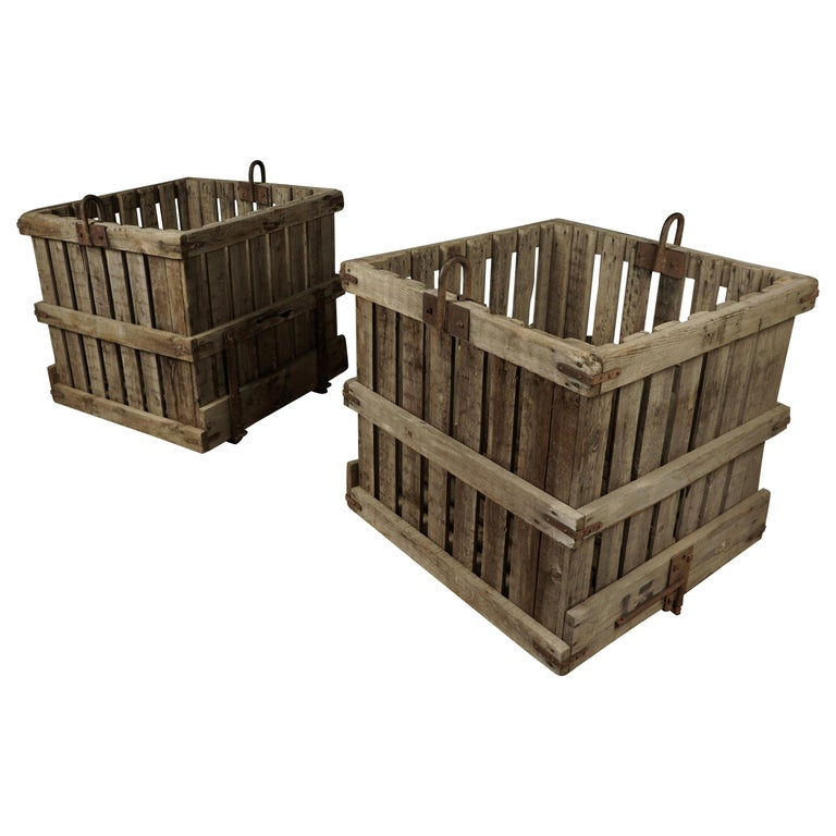 Large Pair of Oak Crates from France, circa 1940 For Sale
