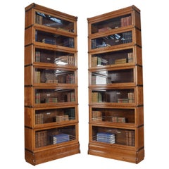 Large Pair of Oak Globe Wernicke Seven Section Bookcases