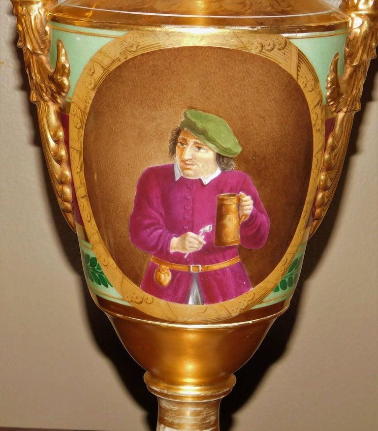 Large Pair of Old Paris Empire Porcelain Vases, Paris, circa 1810 For Sale 5