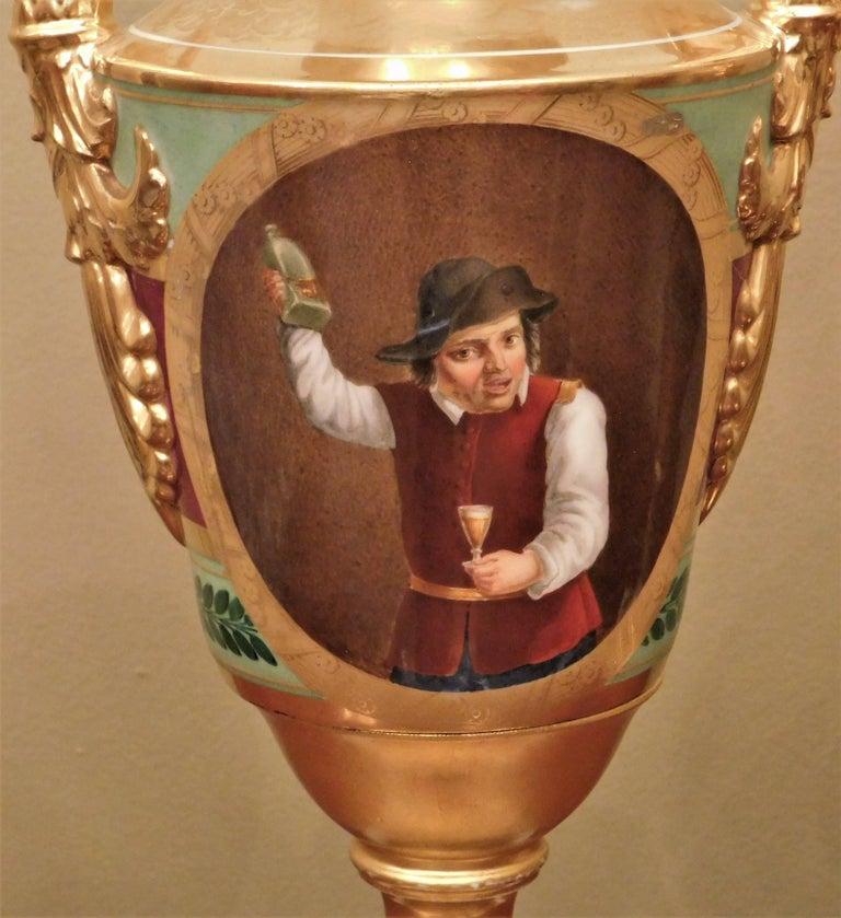 Large Pair of Old Paris Empire Porcelain Vases, Paris, circa 1810 For Sale 6