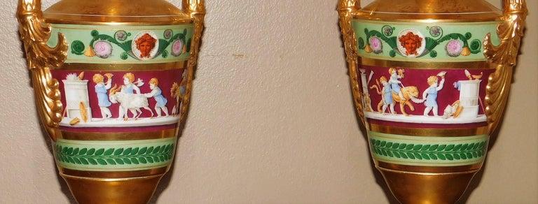 Large Pair of Old Paris Empire Porcelain Vases, Paris, circa 1810 For Sale 7