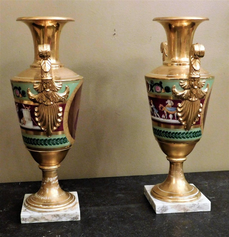 European Large Pair of Old Paris Empire Porcelain Vases, Paris, circa 1810 For Sale