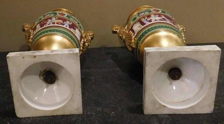 Large Pair of Old Paris Empire Porcelain Vases, Paris, circa 1810 For Sale 1