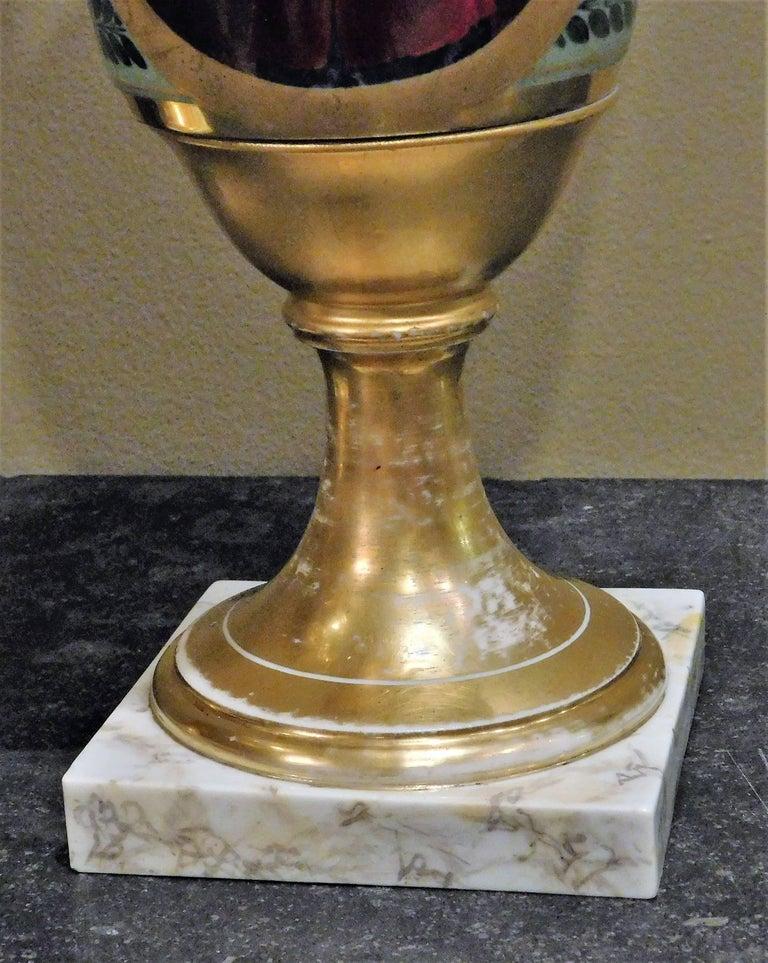Large Pair of Old Paris Empire Porcelain Vases, Paris, circa 1810 For Sale 2