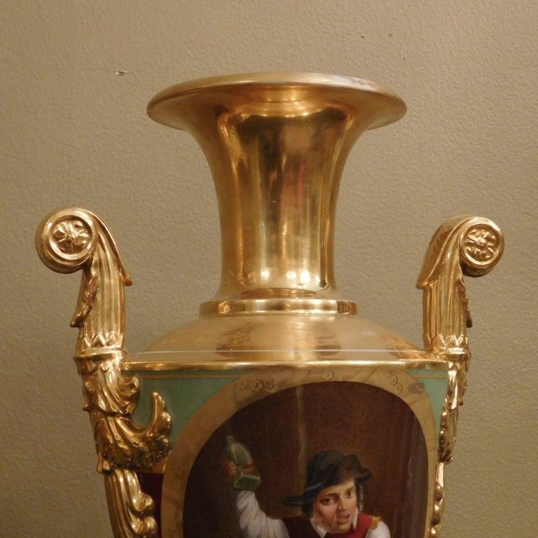 Large Pair of Old Paris Empire Porcelain Vases, Paris, circa 1810 For Sale 3