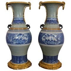 Large Pair of Ormolu-Mounted Chinese Celadon-Glazed Blue and White Vases