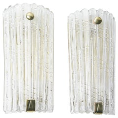 Large Pair of Orrefors Crystal and Brass Sconces by Carl Fagerlund, Sweden, 1950