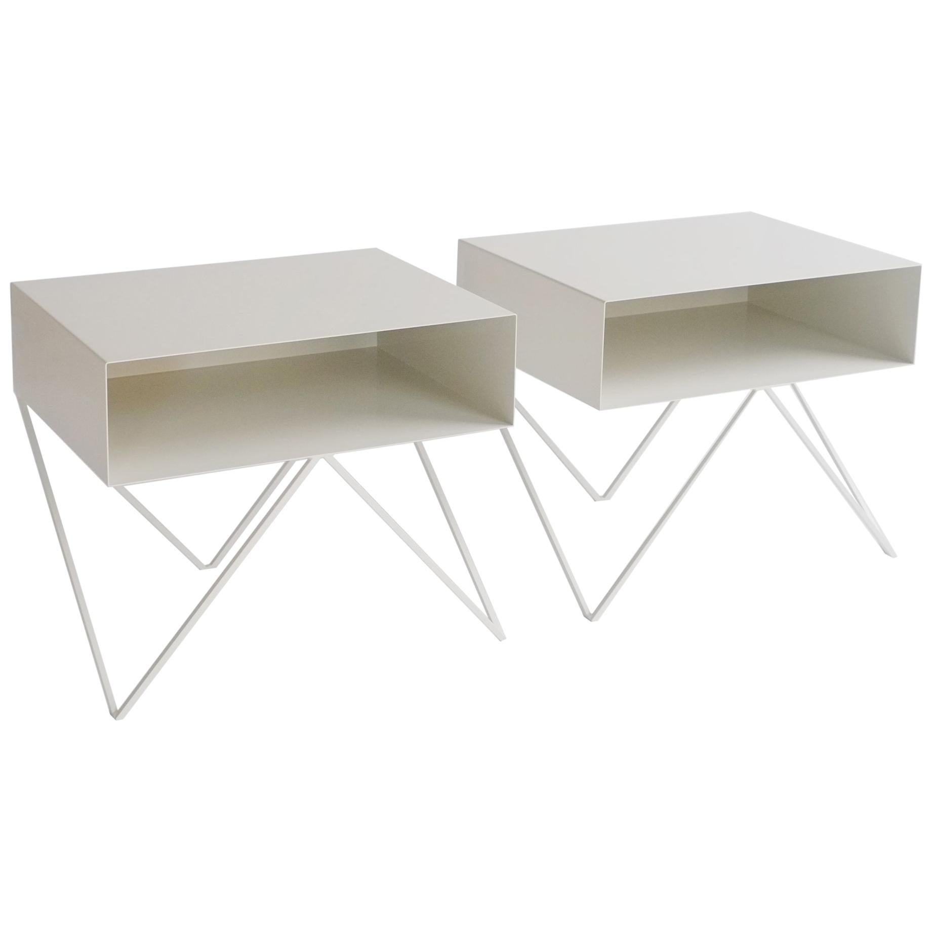 Large Pair of Paper White Powder-Coated Steel Robot Bedside Tables