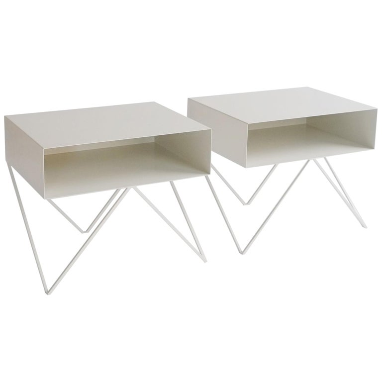 Large Pair of Paper White Powder-Coated Steel Robot Bedside Tables For Sale
