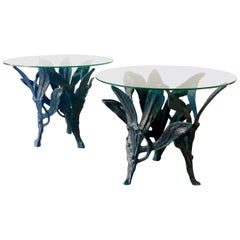 Large Pair of Patinated Aluminium Side Tables, 1960s
