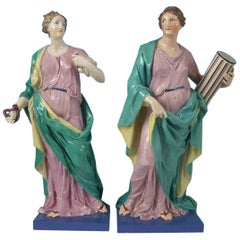 Large Pair of Pearlware 'Prudence & Fortitude' Figures