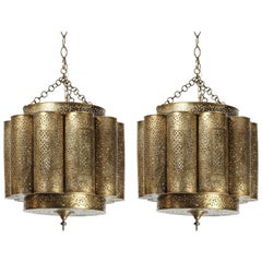 Large Pair of Pierced Brass Moroccan Chandelier in Alberto Pinto Style