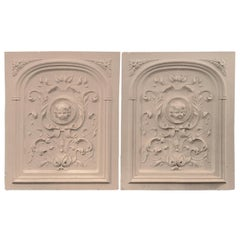 Large Pair of Plaster Decorative Wall Plaques, Bas Relief