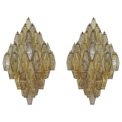 Large Pair of Poliedri Glass Sconces, Italy, 1970