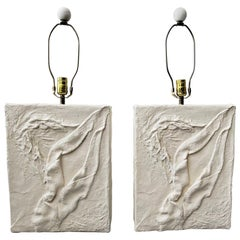 Large Pair of Postmodern Minimalist Plaster Lamps