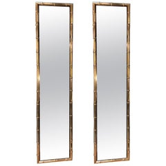 Large Pair of Rectangular Faux Bamboo Brass Mirrors, Italy, 1960s