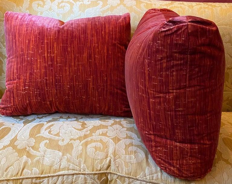 Contemporary Large Pair of Red Strié Cut Velvet Cushions For Sale
