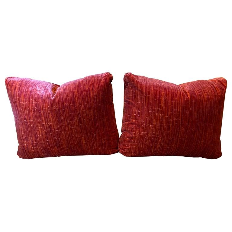 Large Pair of Red Strié Cut Velvet Cushions For Sale