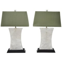 Large Pair of Rock Crystal Quartz Hourglass Modern Table Lamps