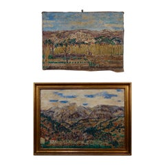Large Pair of Roger-Maurice Grillon Italian Oil on Canvas Landscapes Paintings