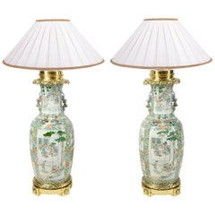 Large Pair of Rose Medallion 19th Century Vases or Lamps
