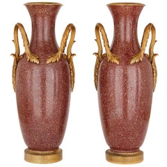 Large Pair of Scagliola and Gilt Bronze Vases
