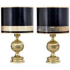 Large Pair of Scandinavian Modern Brass Table Lamps
