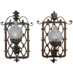 Large Pair of Sconces Hand Forged Golden Iron Italy Design 1950s for Castle Mesh