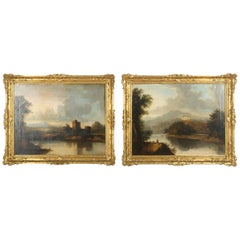 Large Pair of Scottish 19th Century Country House Oil Paintings