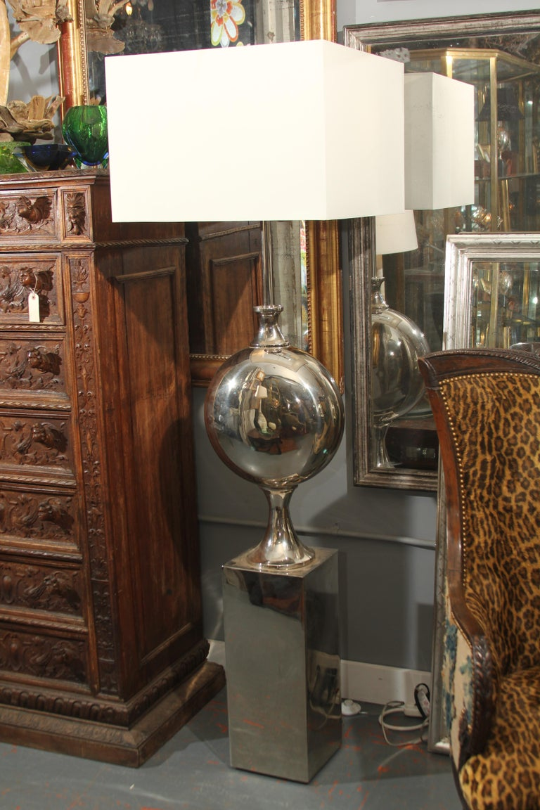 Large Pair of Sculptural Chrome Floor Lamps In Good Condition For Sale In Seattle, WA