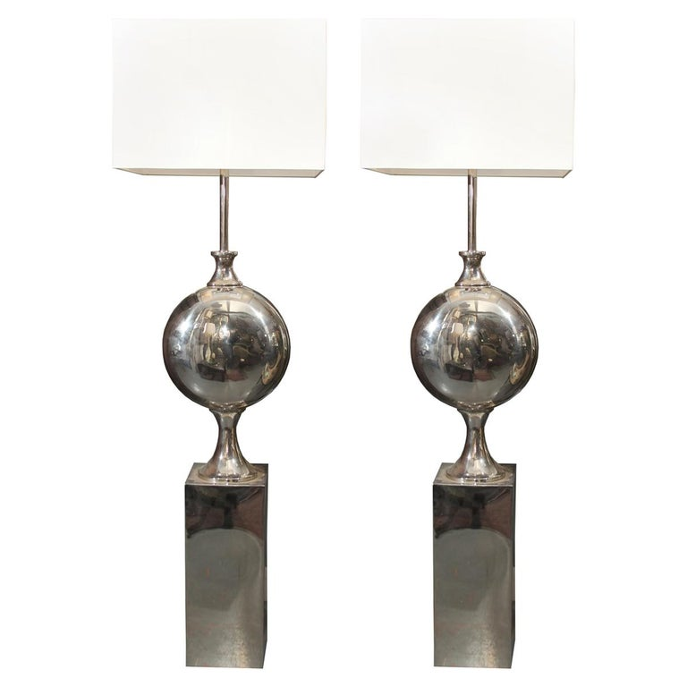 Large Pair of Sculptural Chrome Floor Lamps For Sale