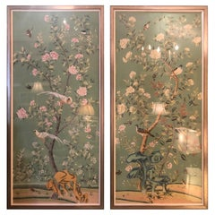 Large Pair of Sensational Bird & Flower Motife Panels