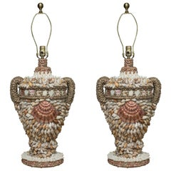 Large Shell Encrusted Table Lamps