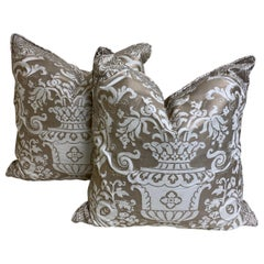 "Large Pair of Silvery-Taupe and White ""Carnavalet"" Fortuny Cushions with Border"