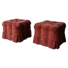 Large Pair of Skirted Biscuit Tufted Ottomans