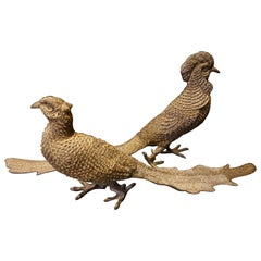 Large Pair of Solid Brass Hand Tooled Male and Female Golden Pheasants