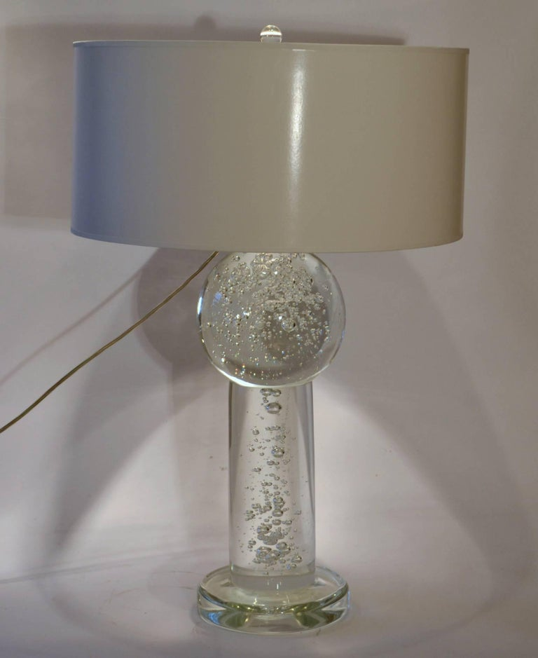 Large Pair Of Solid Clear Glass Table Lamps With Air Bubbles And