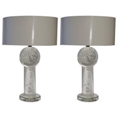 Large Pair of Solid Clear Glass Table Lamps with Air Bubbles and White Shades