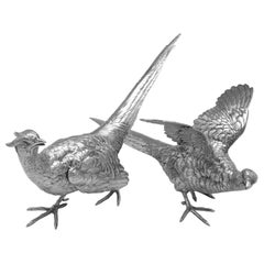 Large Pair of Stunning Sterling Silver Pheasant Models by Berthold Muller