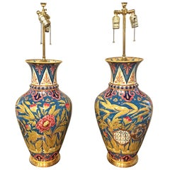 Large Pair of Stunning Zsolnay Porcelain Floral Vases, Now as Lamps