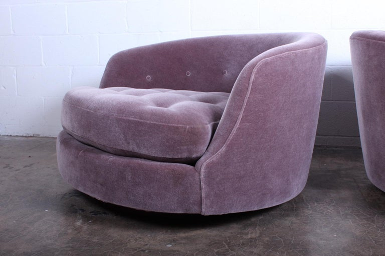 Mohair Large Pair of Swivel Chairs Designed by Milo Baughman For Sale