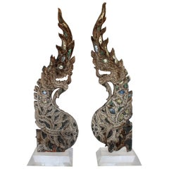 Large Pair of Thai Naga Sculptures on Lucite Bases, circa 1880