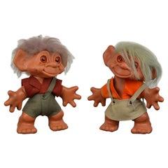 Large pair of Troll Dolls by Dam Things Establishment, 1964