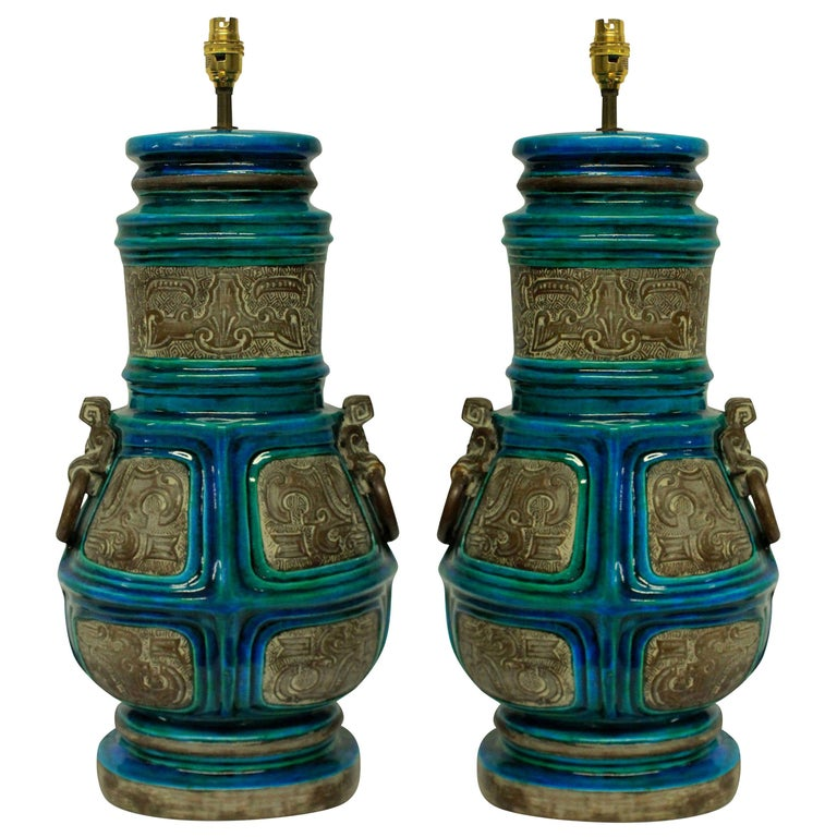 Large Pair of Ugo Zaccagnini Lamps