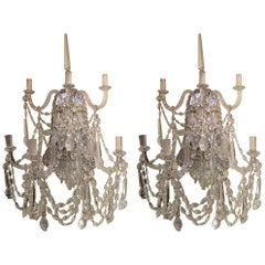 Large Pair of Venetian Crystal Sconces, Seven Candles, Silver Metal Backs
