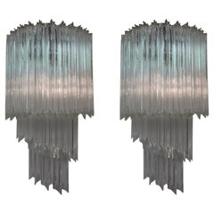 Large Pair of Venini Attributed Murano Glass Spiral Sconces