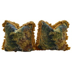 Large Pair of Verdure Tapestry Style Cushions with Gold Fringe