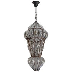 Large Pair of Victorian Style Mouthblown Glass Venetian Pendant Light Fixtures