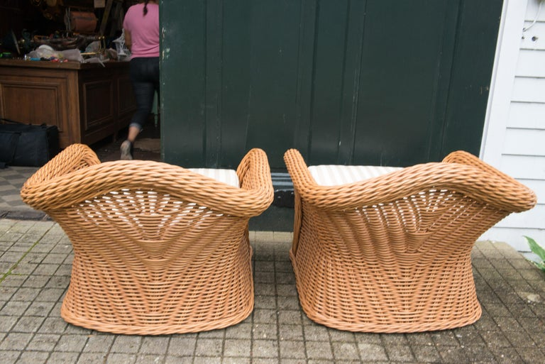 Large Pair of Vintage Ficks Reed Rattan Arm Chairs For Sale 3
